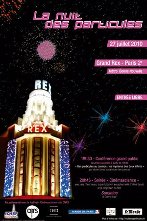 Affiche de la Nuit des particules au Grand Rex.