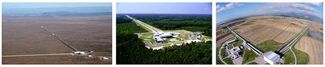 De gauche à droite : les deux détecteurs LIGO (à Hanford et Livingston, États-Unis) et le détecteur Virgo (Cascina, Italie).
