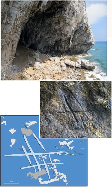 Gravure néandertal_grotte photo et relevé