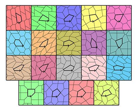 Picture pentagonal tiles