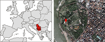 Location of the Belgrade fortress in Serbia.