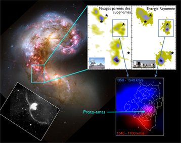 Photomontage illustrating the discovery of a super star cluster in the Antennae galaxies.