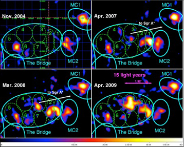 XMM-Newton images of the emission of the neutral iron fluorescent line in the molecular clouds around Sgr A*