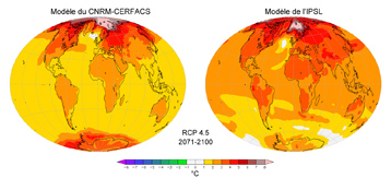 Changes in the Earth's surface temperature for the period 2071-2100 compared with the period 1971-2000