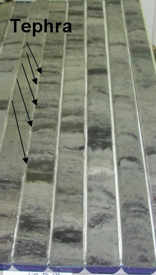 Example of layers of tephra showing successive eruptions