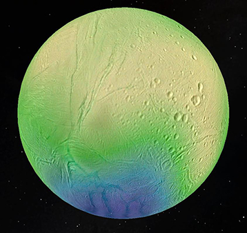 Image showing the thickness of Enceladus's ice shell, which reaches 35 kilometers in the cratered equatorial regions (shown in yellow) and less than 5 kilometers in the active south polar region (shown in blue).