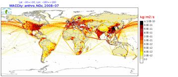 Las emisiones antropogénicas de óxidos de nitrógeno en julio de 2008