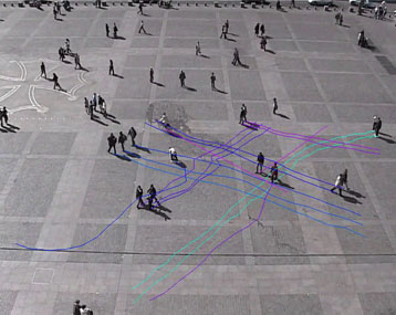 Pedestrian trajectories in the Place du Capitole in Toulouse, as they appear after video treatment