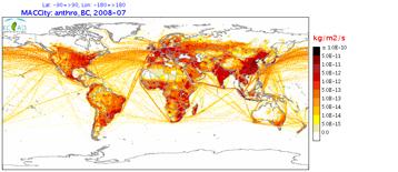 Las emisiones antropogénicas de carbono negro (hollín) en julio de 2008