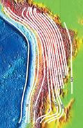 Isobathes de la plaque plongeant sous l'Amérique du sud